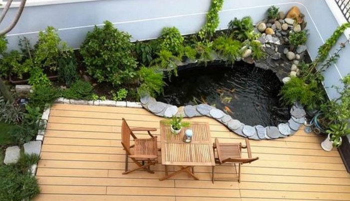 mẫu thiết kế hồ cá koi trên sân thượng, ban công