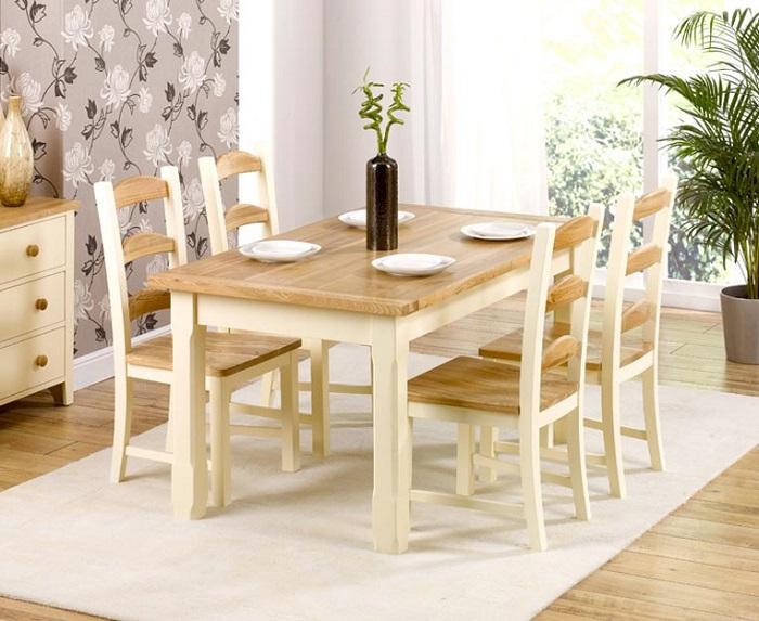 Bàn ghế ăn bằng gỗ hiện đại phong cách Hàn Quốc
