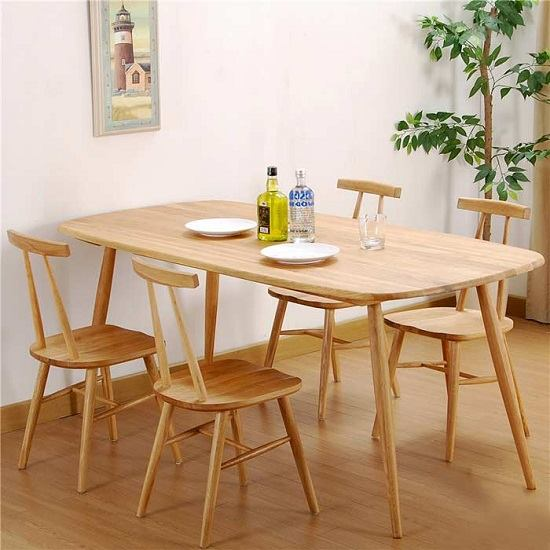 Bàn ghế ăn bằng gỗ hiện đại phong cách Nhật Bản